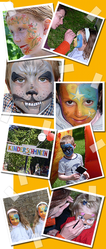 KINDERSCHMINKEN verzaubert und verwandelt Kinder und Gesichter, und das preiswert, professionell und mit garantiert hautverträglichen Farben. Die Fotos zeigen...